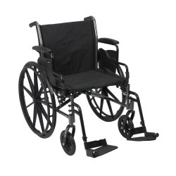 Lightweight Wheelchair, McKesson, Dual Axle Desk Length Arm Flip Back, Padded, Removable Arm Style Mag Wheel Black 20 Inch Seat Width 300 lbs. Weight Capacity, 146-K320DDA-SF - EACH