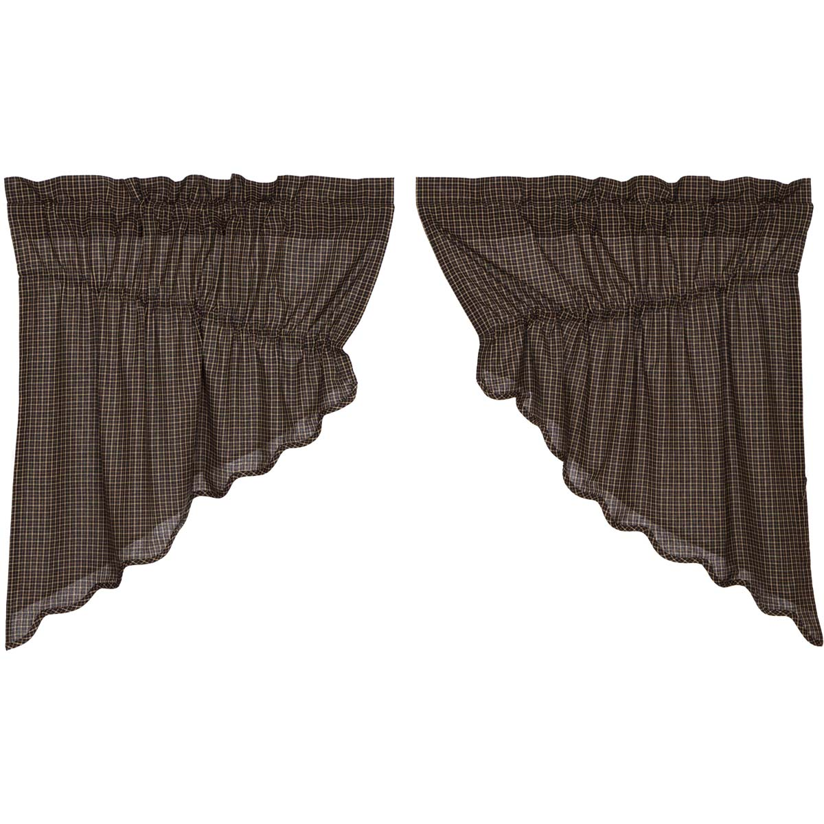 Kettle Grove Plaid Prairie Swag Scalloped Set of 2 36x36x18