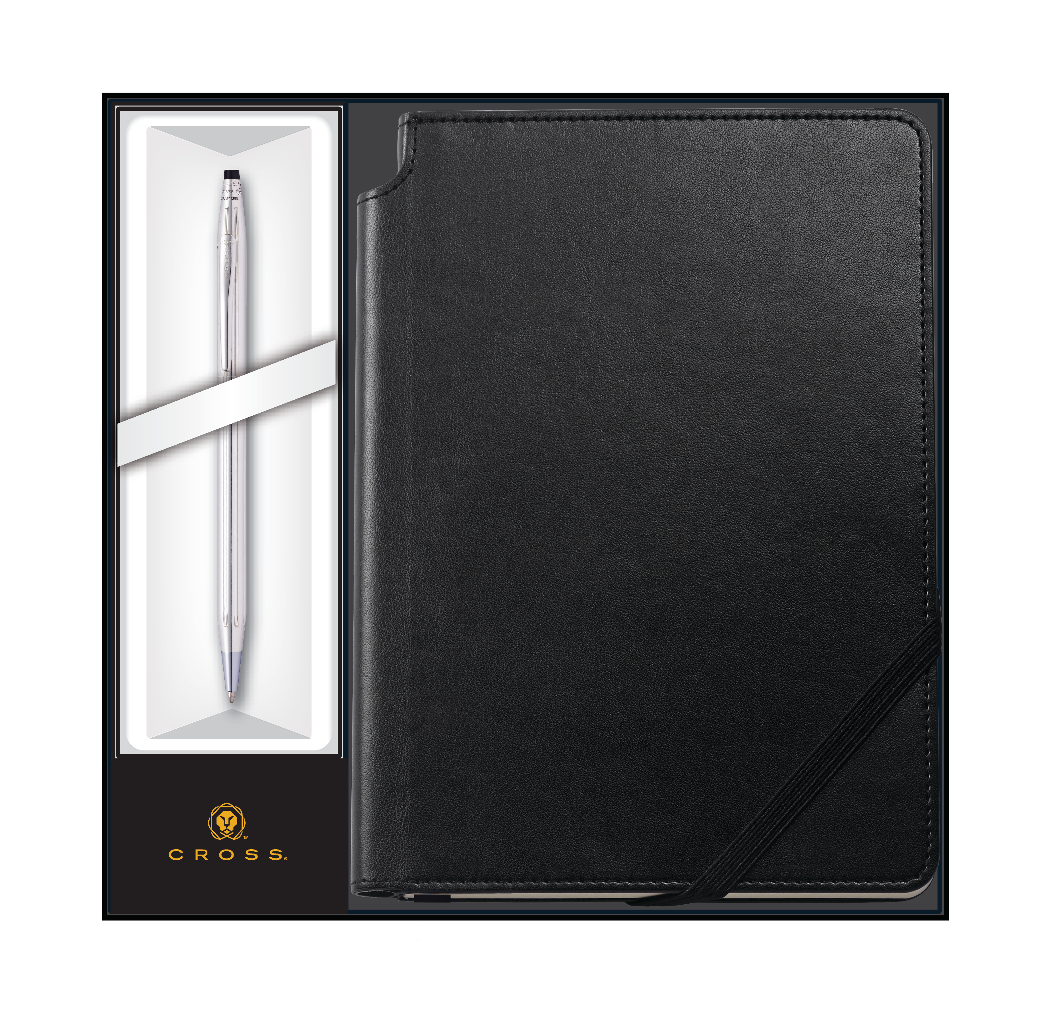 Classic Century Lustrous Chrome Ballpoint with Classic Black Journal Gift Set