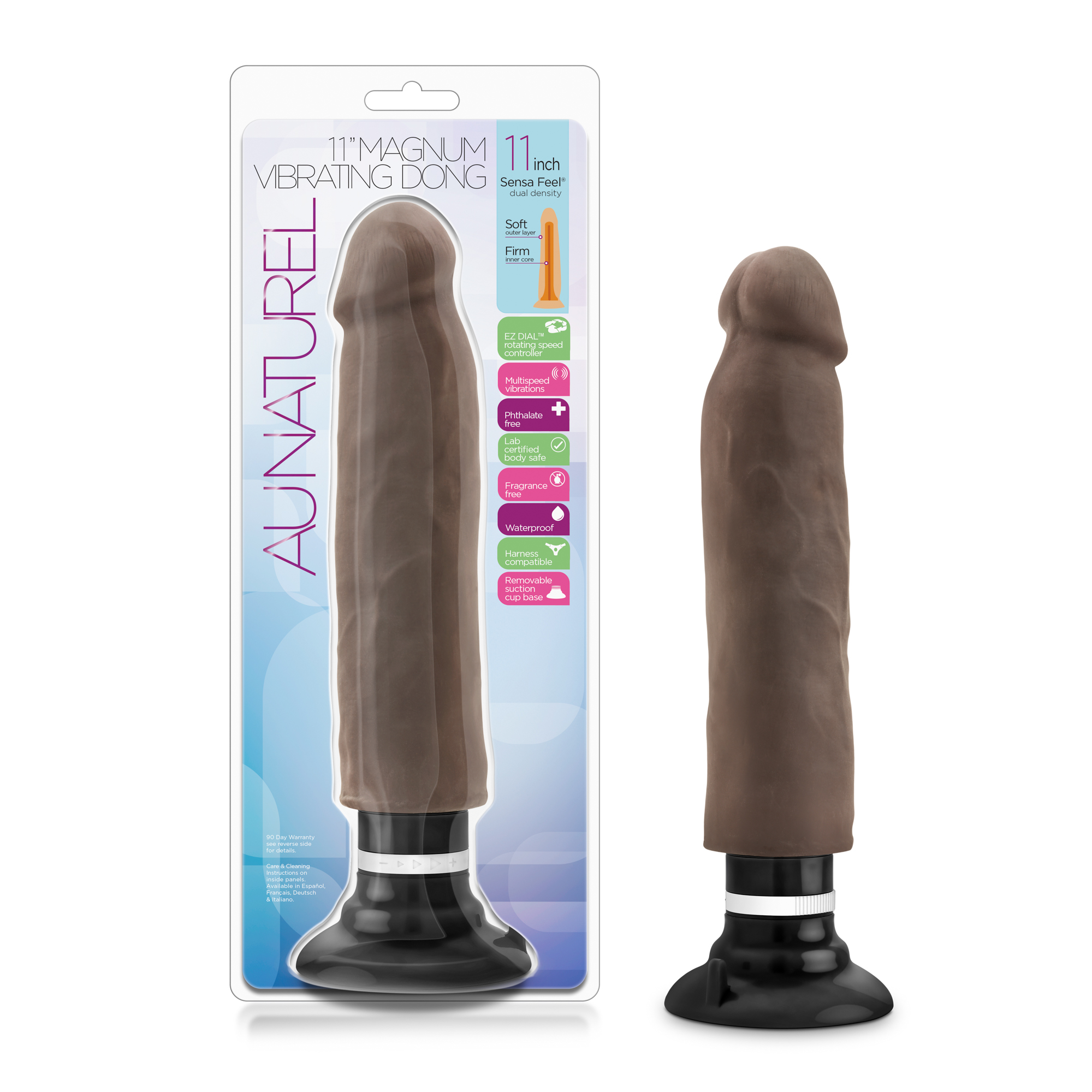 Au Naturel - 11 inch Sensa Feel Magnum Vibrating Dong - Chocolate