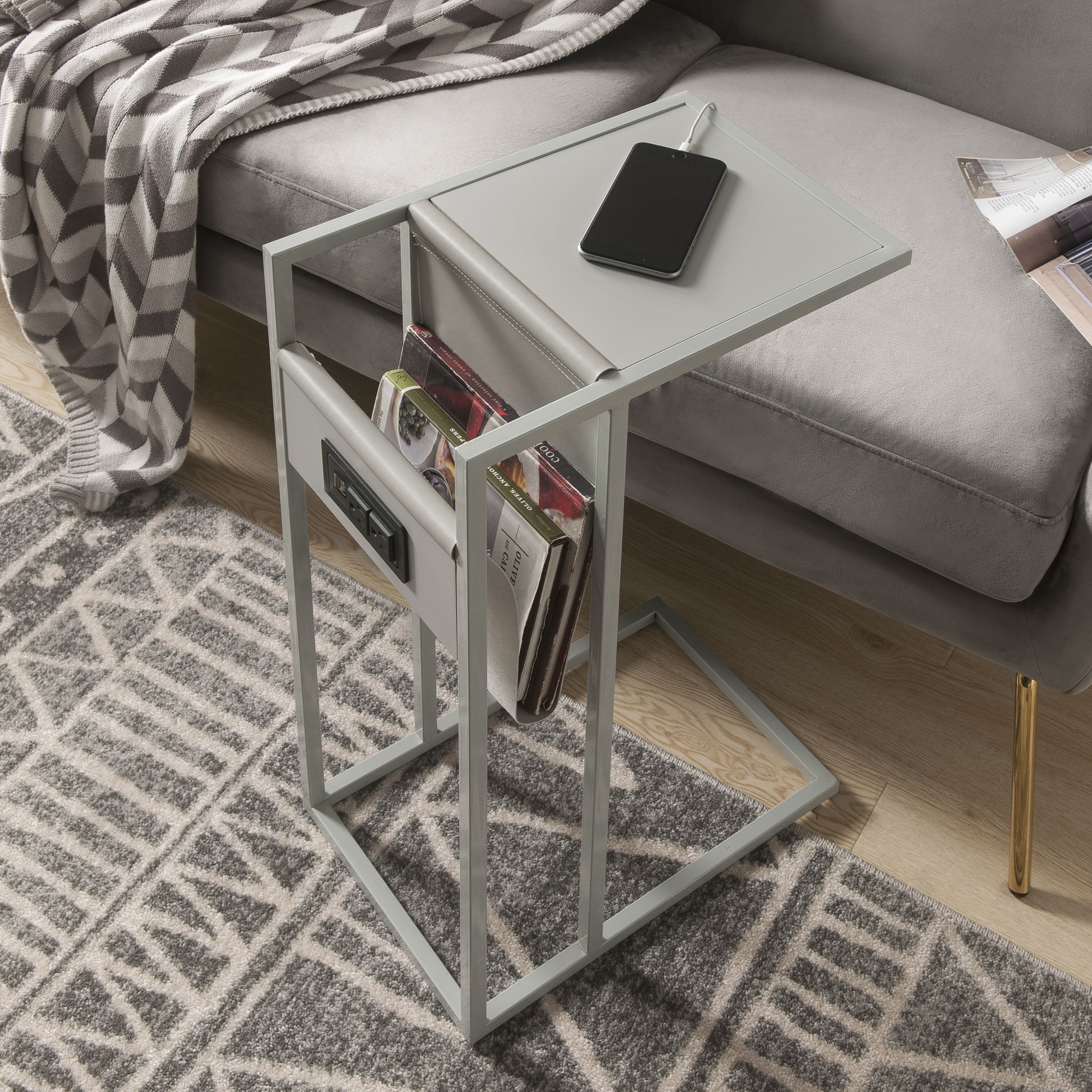 Loft Lyfe Grey/Grey End Table 2 USB Charging Ports, 2 Outlets, Power Plug Magazine Holder