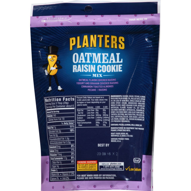 PLANTERS Oatmeal Raisin Cookie 6 oz Bag