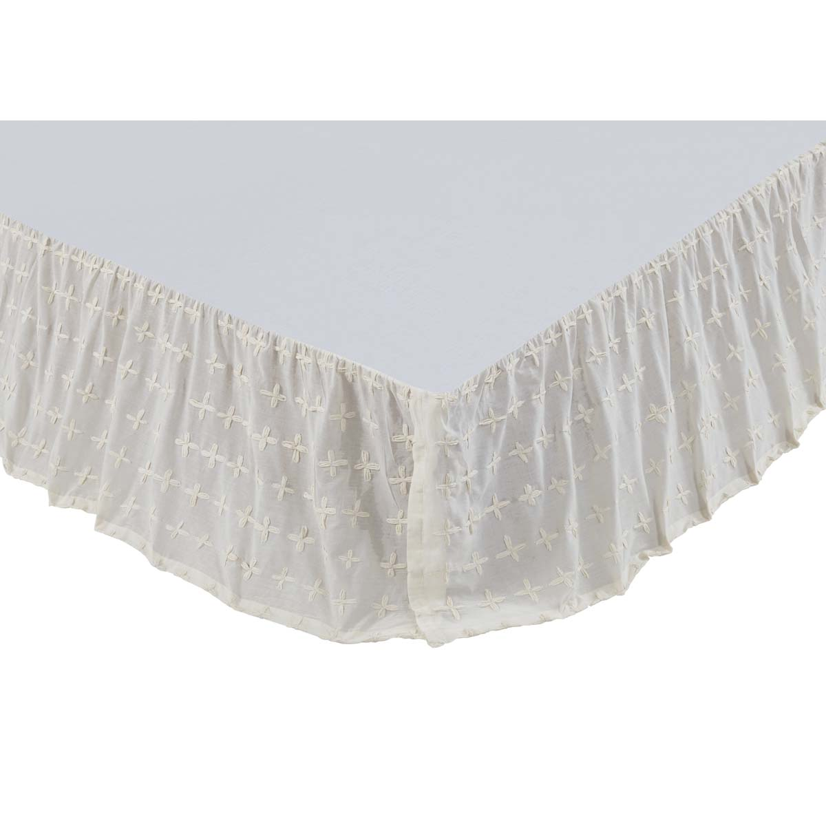 Willow Creme King Bed Skirt 78x80x16