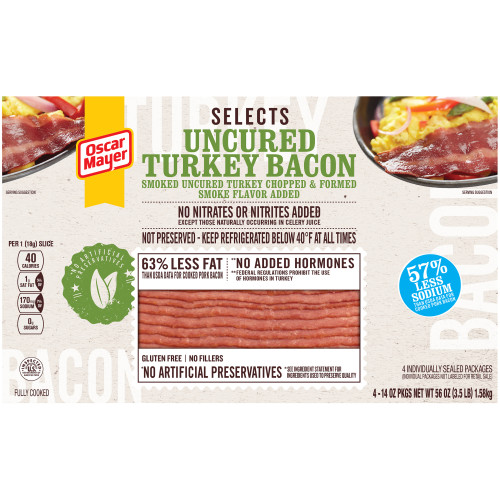 Oscar Mayer Selects Uncured Turkey Bacon Boxes, 4 - 14 oz