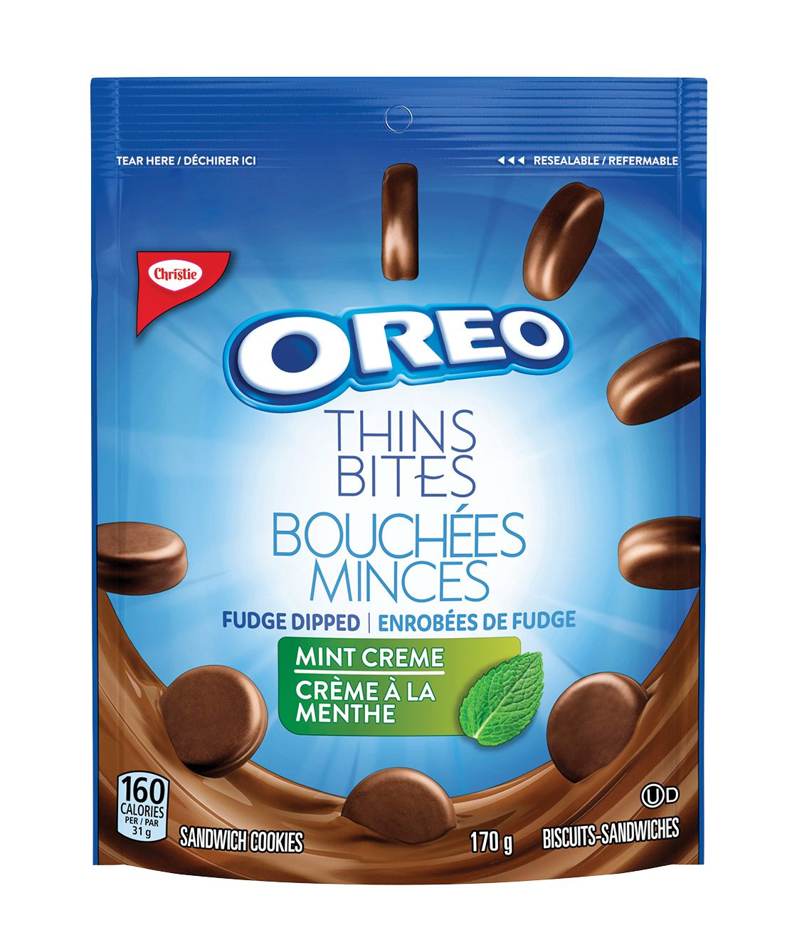 Oreo Thin Bites Dipped Mint Creme Cookies 170 G