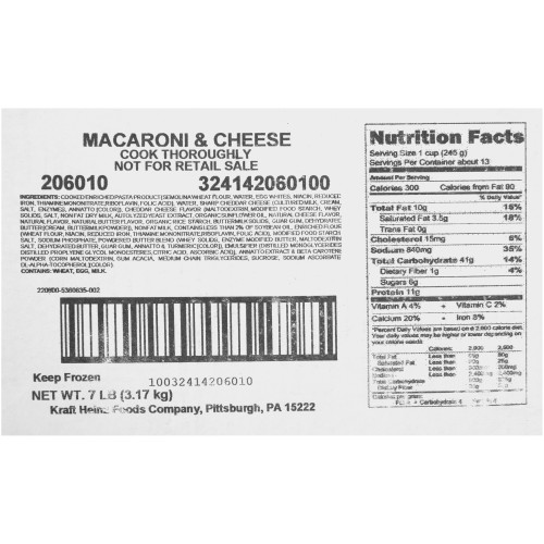 QUALITY CHEF Macaroni & Cheese, 7 lb. Frozen Bag (Pack of 6)