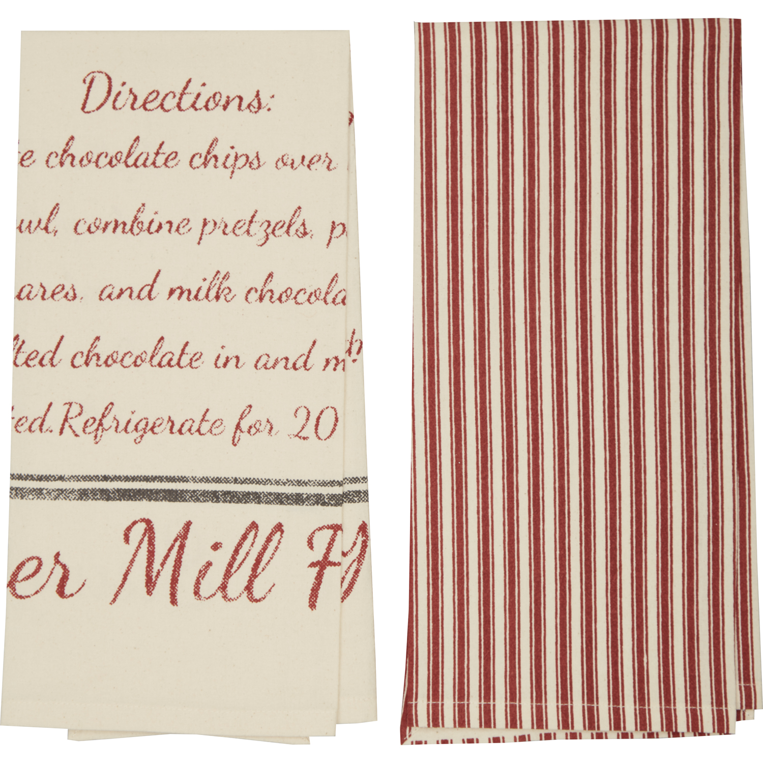 Sawyer Mill Reindeer Chow Recipe Unbleached Natural Muslin Tea Towel Set of 2 19x28