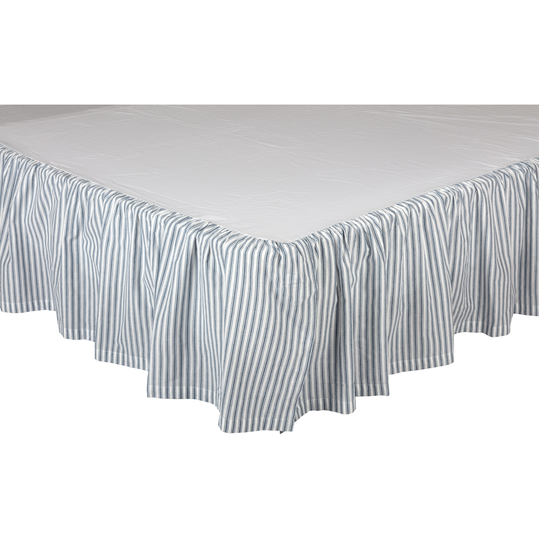 Sawyer Mill Blue Ticking Stripe King Bed Skirt 78x80x16