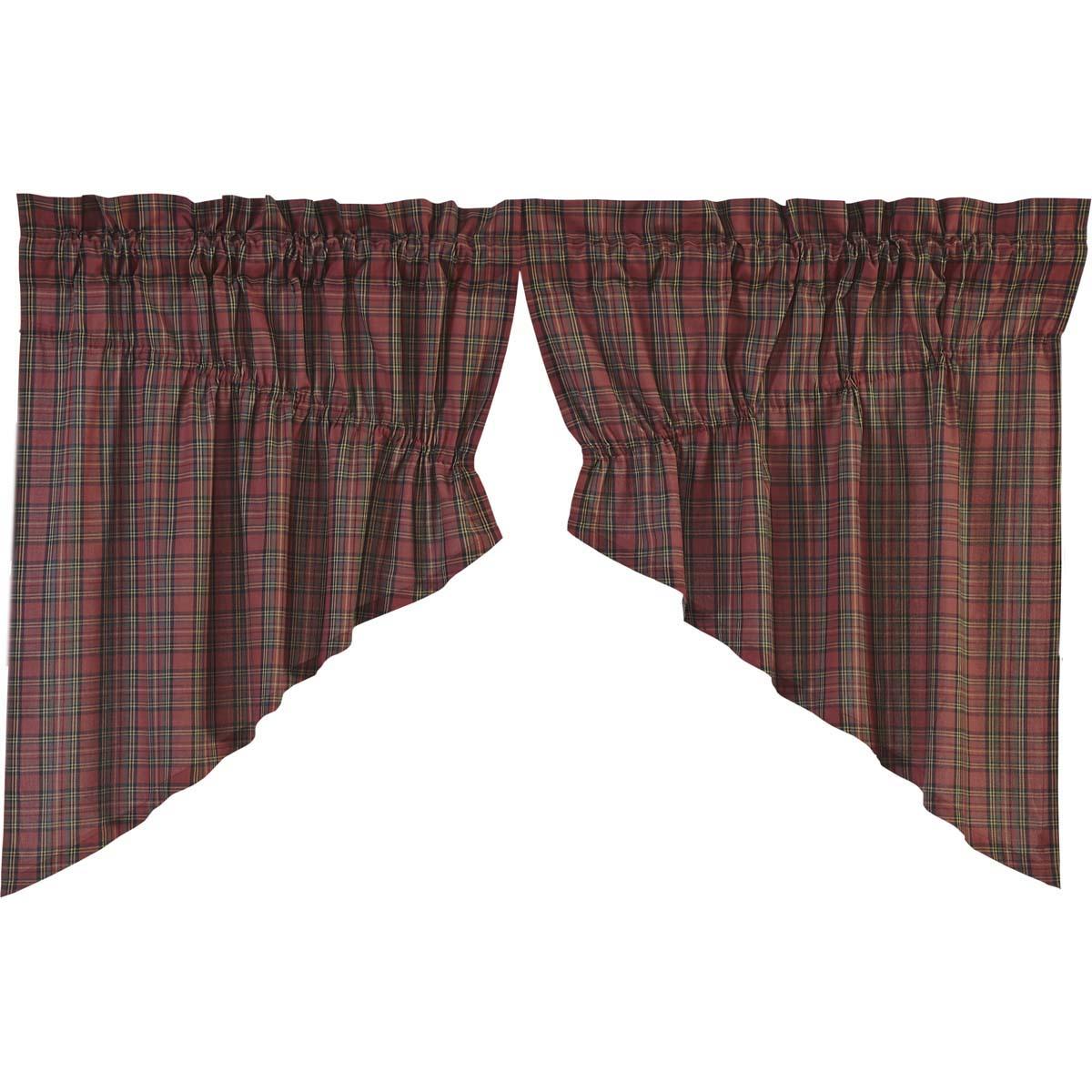 Tartan Red Plaid Prairie Swag Set of 2 36x36x18