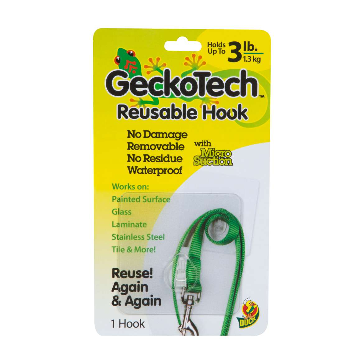 GeckoTech™ Removable Hook - Clear, Holds up to 3 lb. Image