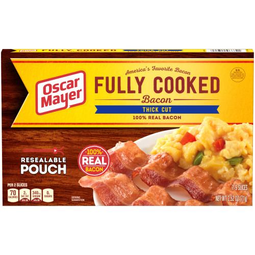 Oscar Mayer Thick Cut Fully Cooked Bacon Box, 2.52 oz