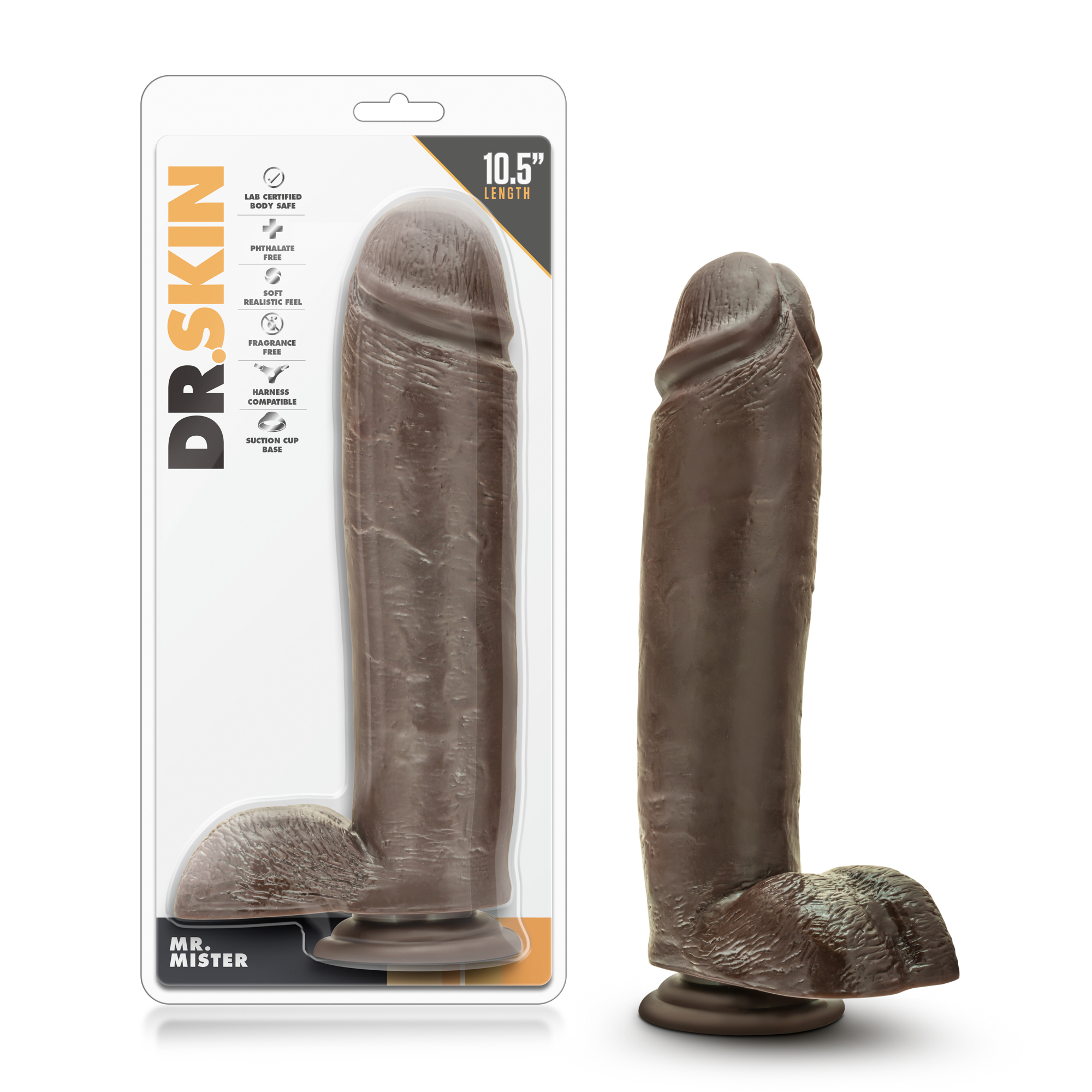 Dr. Skin - Mr. Mister 10.5 Inch Dildo with Suction  - Chocolate