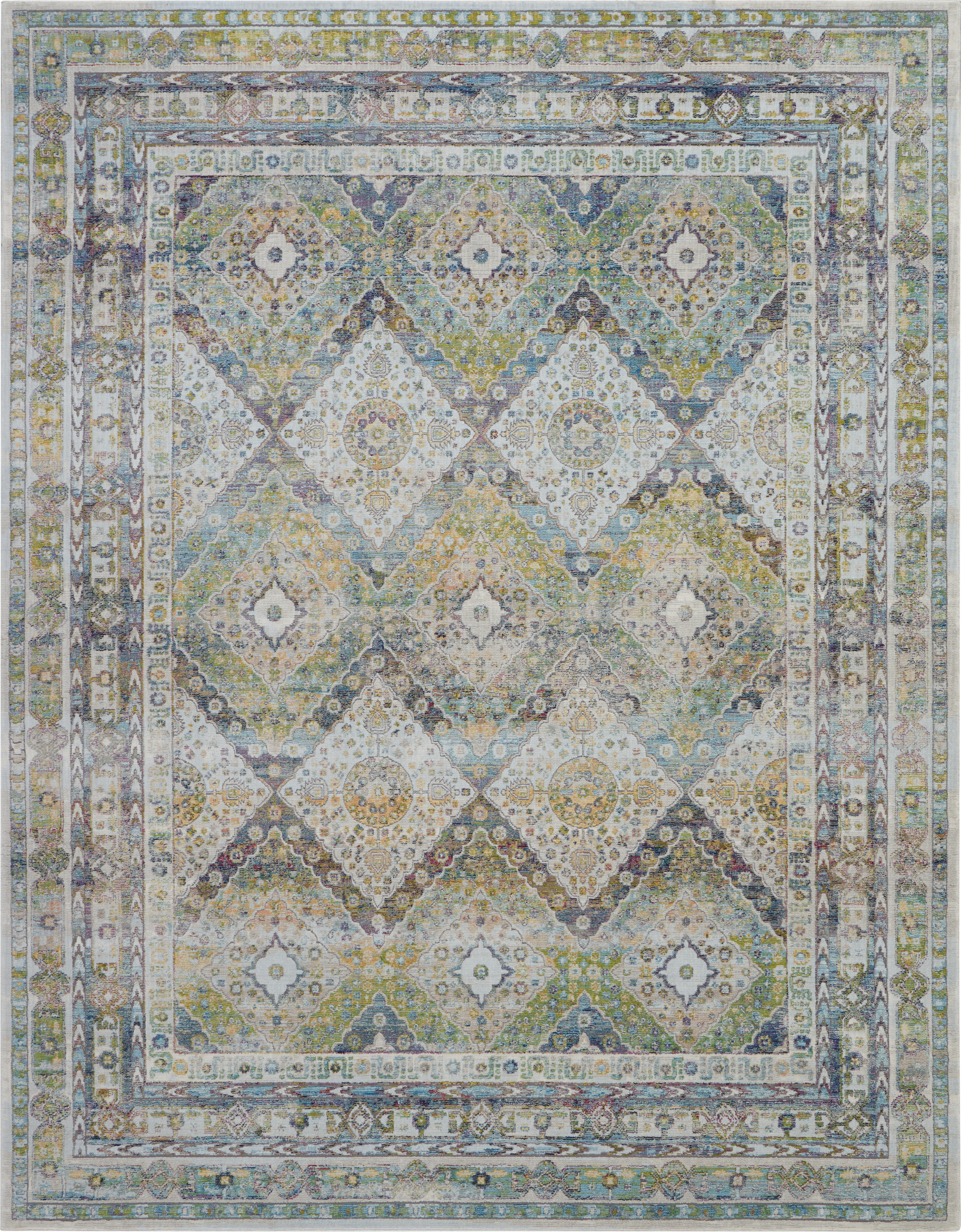 Nourison Ankara Global 9' X 12' Blue And Green Farmhouse Area Rug