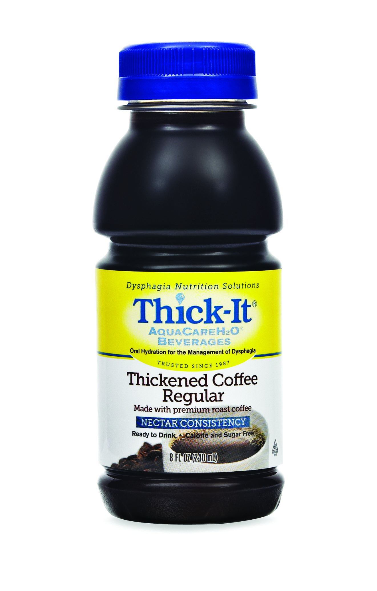 Thick-It AquaCareH2O Thickened Beverage 8 oz. Bottle Coffee Ready to Use Nectar Consistency, B467-L9044 - EACH
