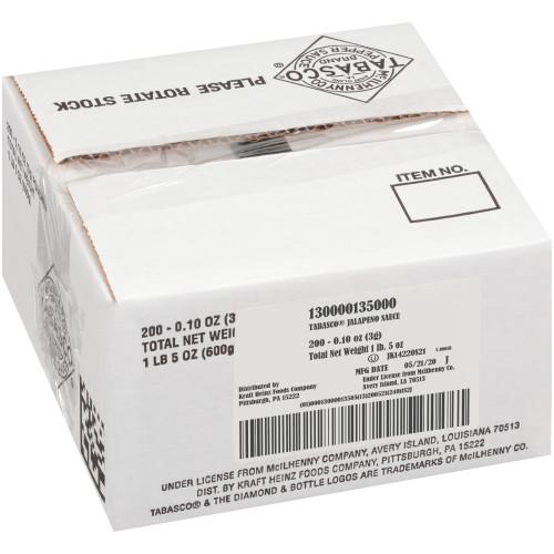 TABASCO® Single Serve Jalapeño Sauce, 3 Gr. Packets (Pack Of 200)