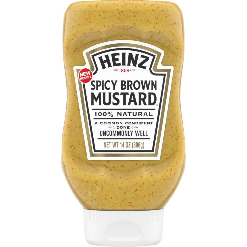 Heinz Spicy Brown Mustard, 14 oz Bottle image