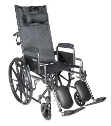 Reclining Wheelchair, McKesson, Desk Length Arm Padded, Removable Arm Style Mag Wheel Black 18 Inch Seat Width 300 lbs. Weight Capacity, 146-SSP18RBDDA - EACH