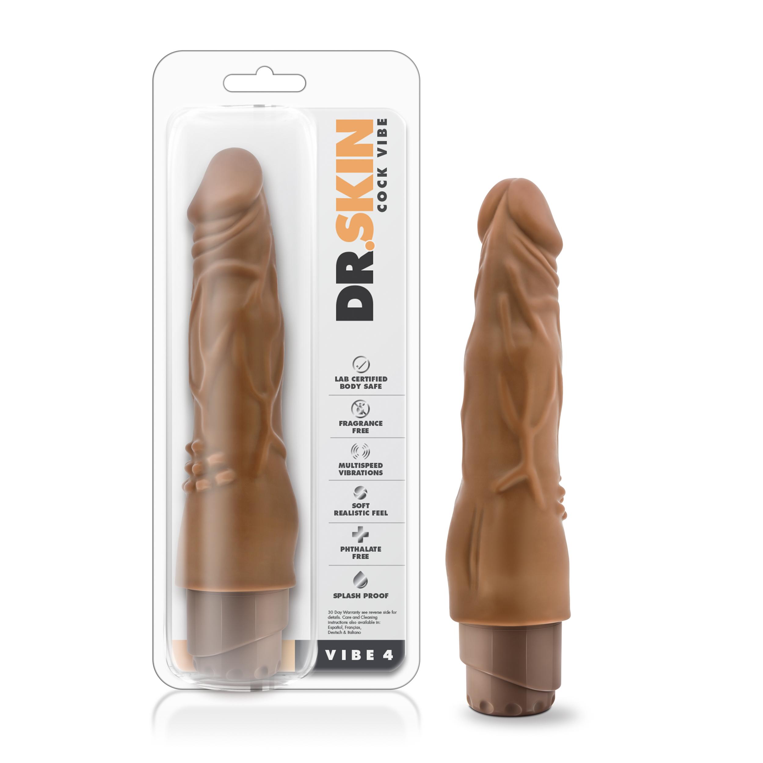 Dr. Skin - Cock Vibe 4 - 8 Inch Vibrating Cock - Mocha
