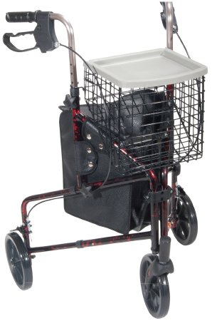3 Wheel Rollator drive Deluxe Red Aluminum Frame, 10289RD - EACH