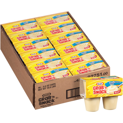 KRAFT GRAB 'N SNACK Vanilla Pudding, 3.5 oz. Cups (4/12 Count)