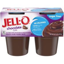Jell-O Chocolate Sugar Free Pudding Snack, 14.5 oz Sleeve (4 Cups)