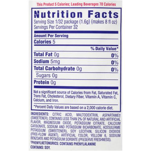 CRYSTAL LIGHT Sugar Free strawberry kiwi Powdered Beverage Mix, 1.7 oz. Pouch (Pack of 12)