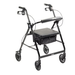 4 Wheel Rollator, McKesson, 32 to 37 Inch Black Folding Aluminum Frame 32 to 37 Inch, 146-R726BK - EACH
