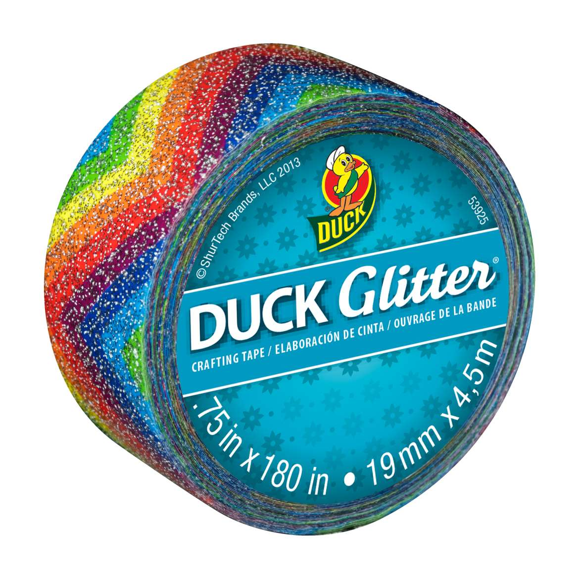 Duck Glitter® Crafting Tape - Rainbow, .75 in. x 180 in. Image