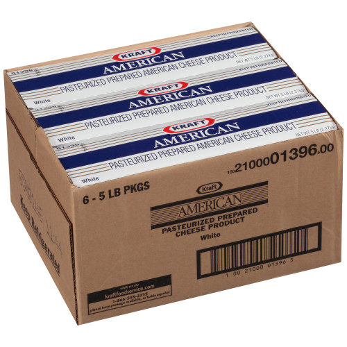 KRAFT American White Cheese, 5 lb. Loaf (Pack of 4)