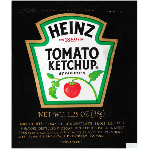 HEINZ Single Serve Ketchup, 1.25 oz. Packets (Pack of 100)