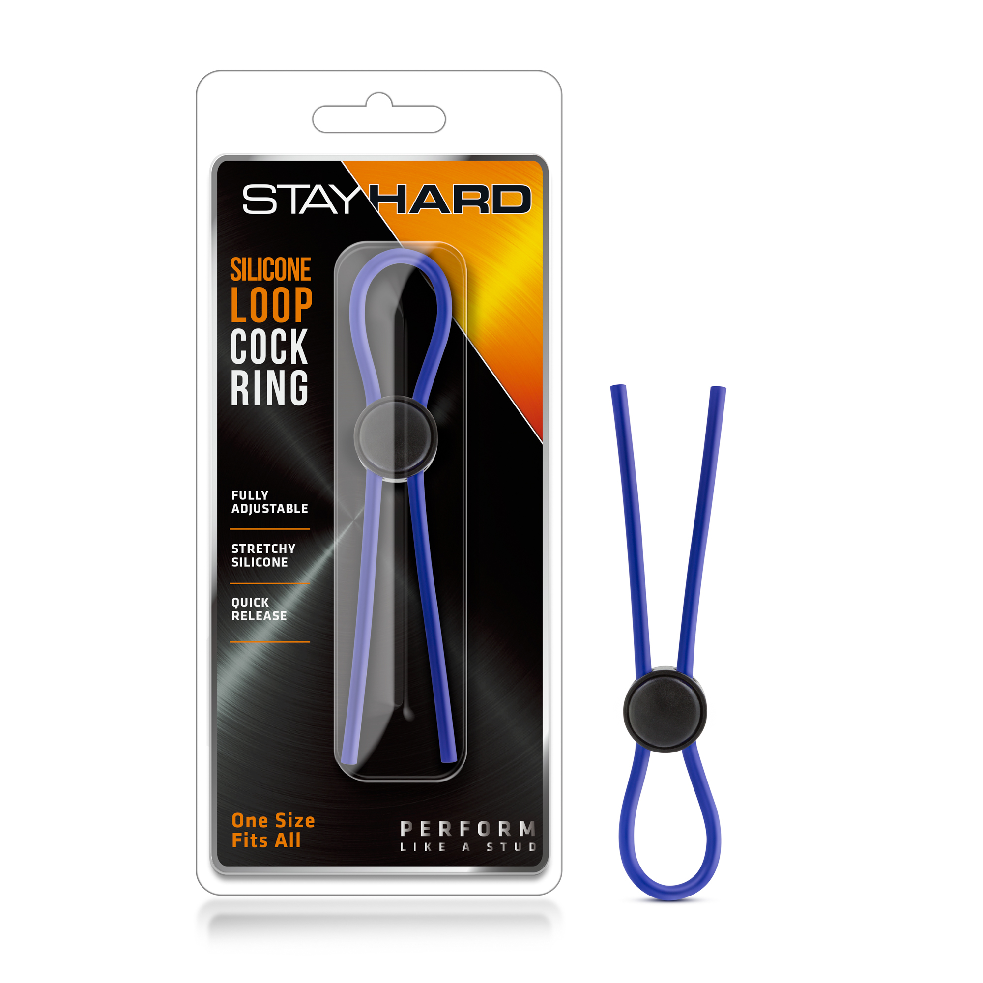 Stay Hard - Silicone Loop Cock Ring - Blue