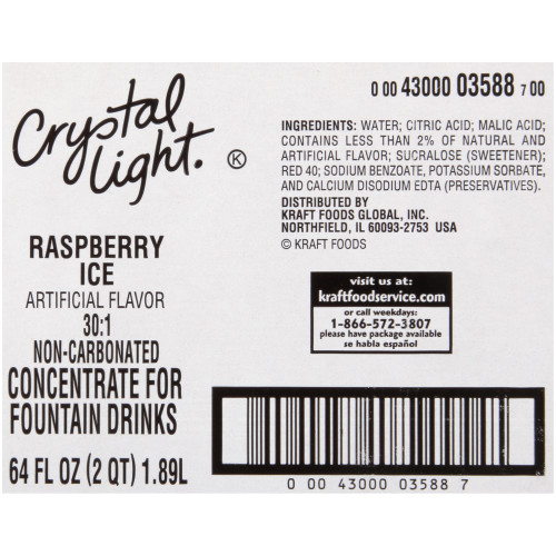 CRYSTAL LIGHT Raspberry Ice Bag-in-Box Liquid Concentrate, 64 oz. Bag