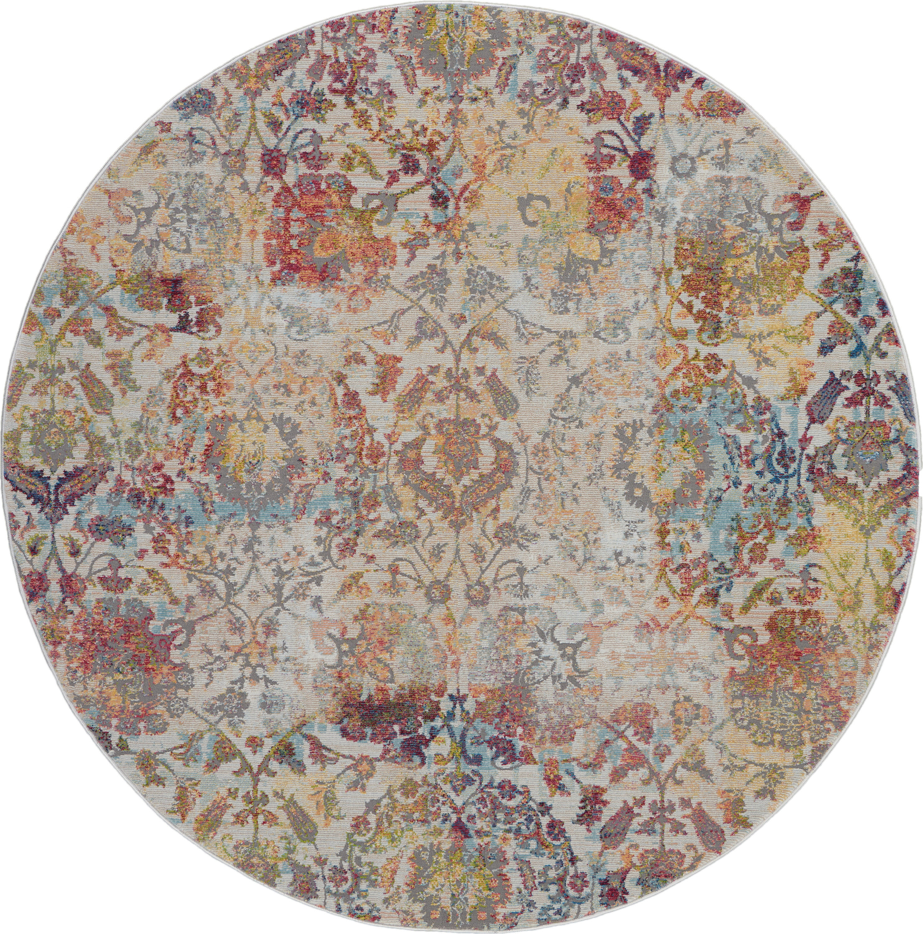 Nourison Ankara Global 6' Round White And Orange French Country Area Rug