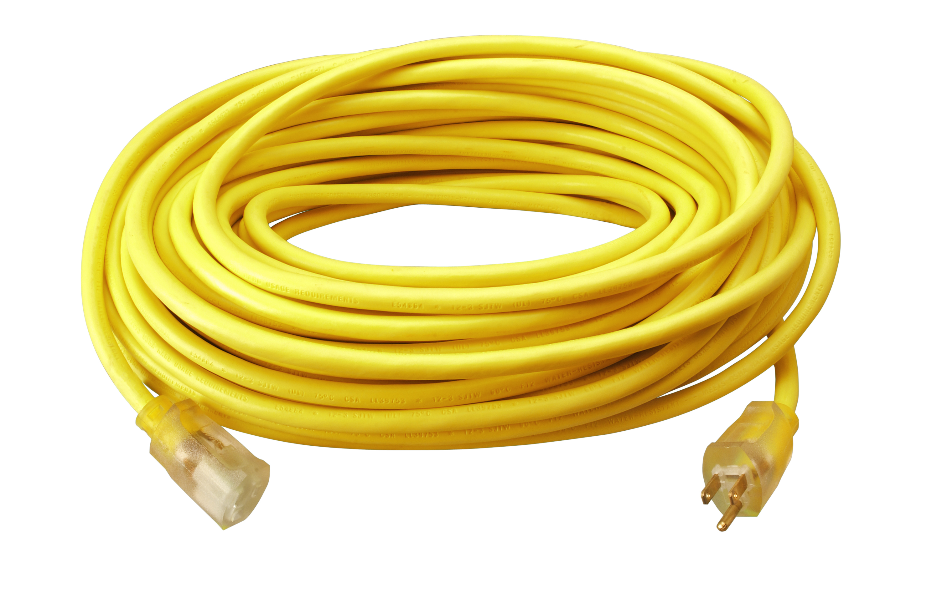 CLM 02589SW0002 12/3 100SJTW CORD YELLOW W/LITED END