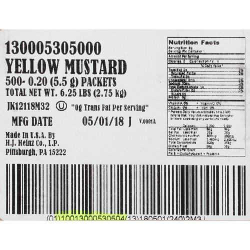 HEINZ Single Serve Mild Mustard, 0.2 oz. Packets (Pack of 500)