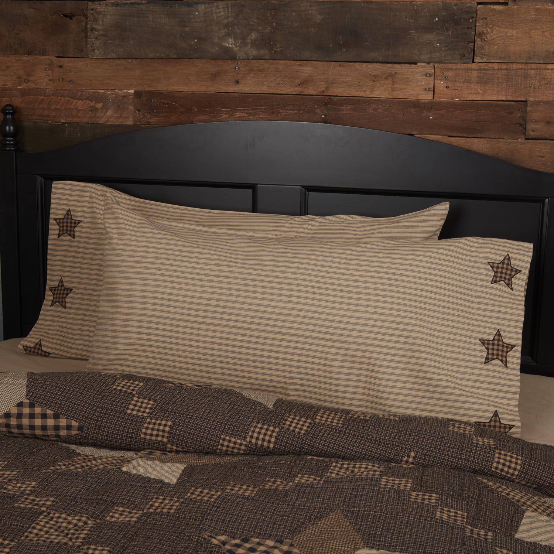 Farmhouse Star King Pillow Case w/Applique Star Set of 2 21x40
