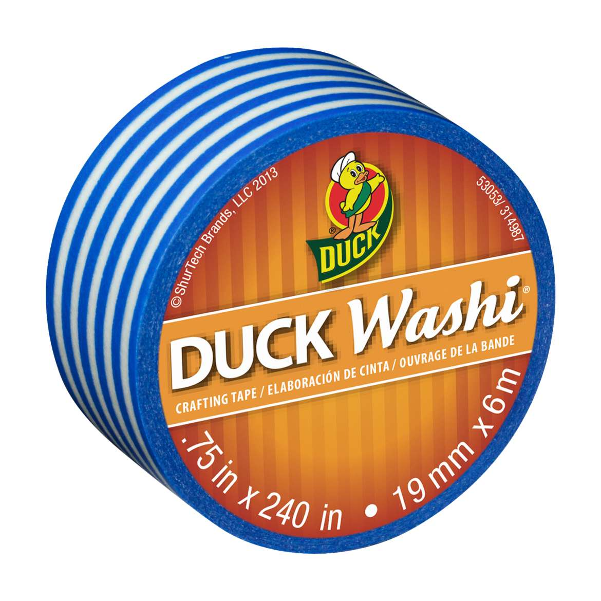 Duck Washi® Crafting Tape - Blue Stripe, .75 in. x 240 in. Image
