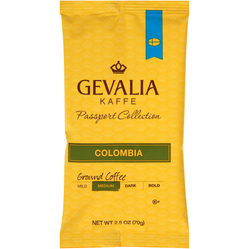 GEVALIA Colombian Roast & Ground Coffee, 2.5 oz. Bag (Pack of 24)