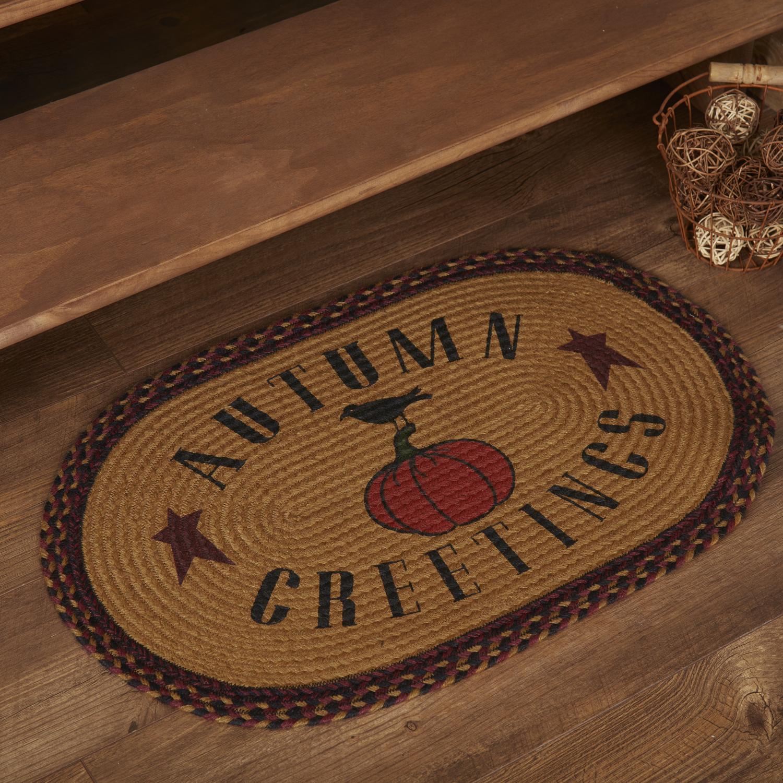 Heritage Farms Harvest Jute Rug Oval Autumn Greetings 20x30