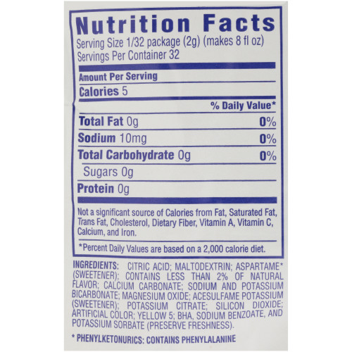 CRYSTAL LIGHT Sugar Free Lemonade Powdered Beverage Mix, 2.2 oz. Pouch (Pack of 12)
