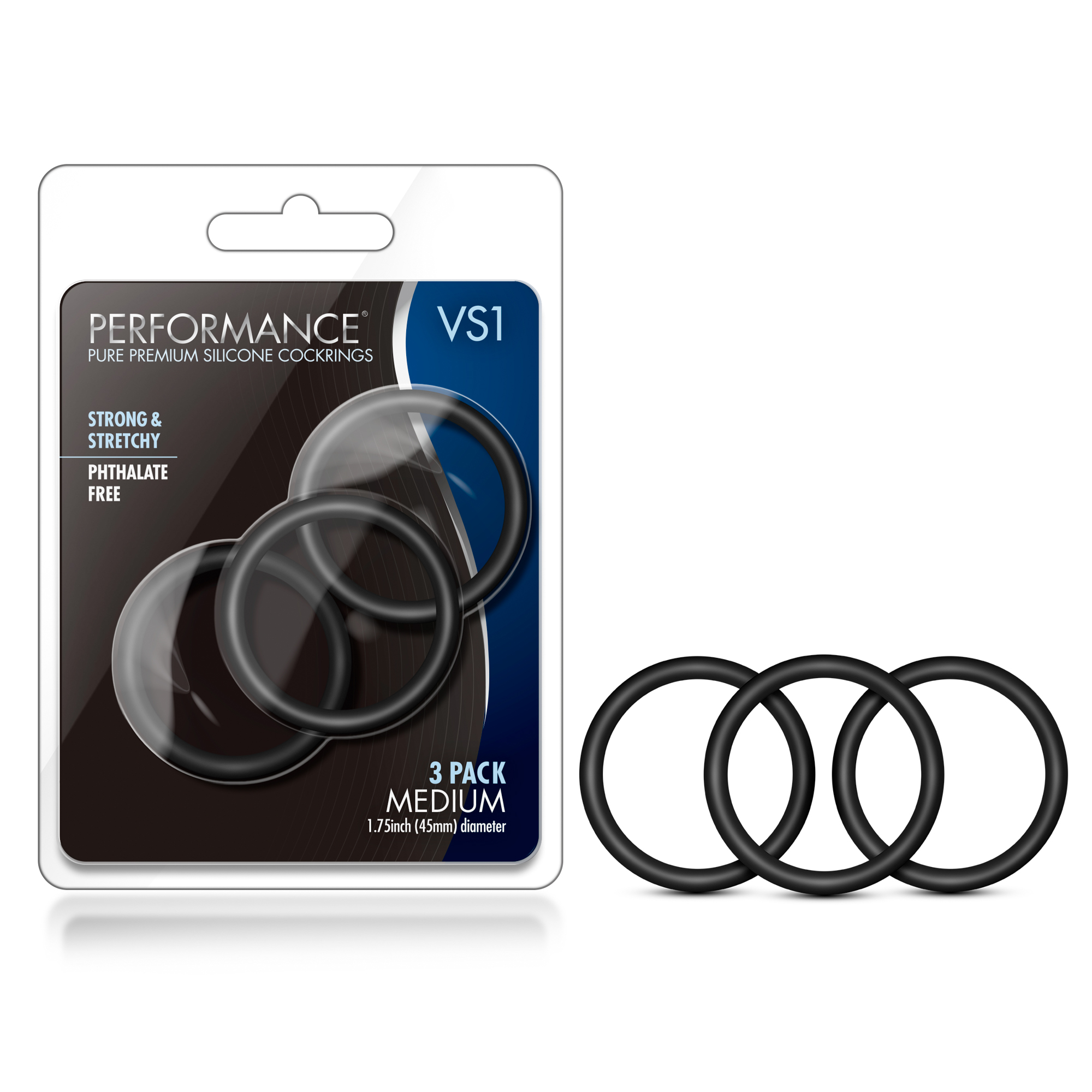 Performance - VS1 Pure Premium Silicone Cock Rings - Medium - Black