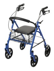 4 Wheel Rollator, McKesson, 31 to 37 Inch Blue Folding Steel Frame 31 to 37 Inch, 146-10257BL-1 - EACH