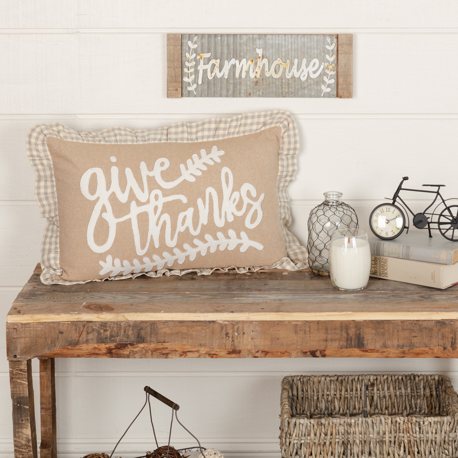 Grace Give Thanks Pillow 14x22