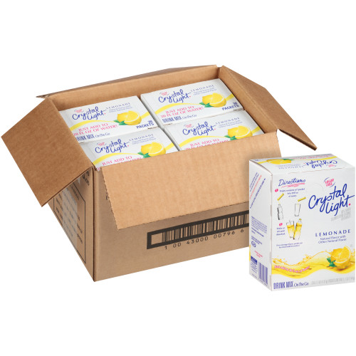 CRYSTAL LIGHT Sugar Free Lemonade On-the-Go Powdered Mix, 30-0.17 oz Packets per Box (Pack of 4 Boxes)