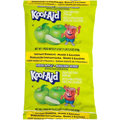 Kool-Aid Green Apple Powdered Drink Mix, 21.8 oz. Pouch (Pack of 15)
