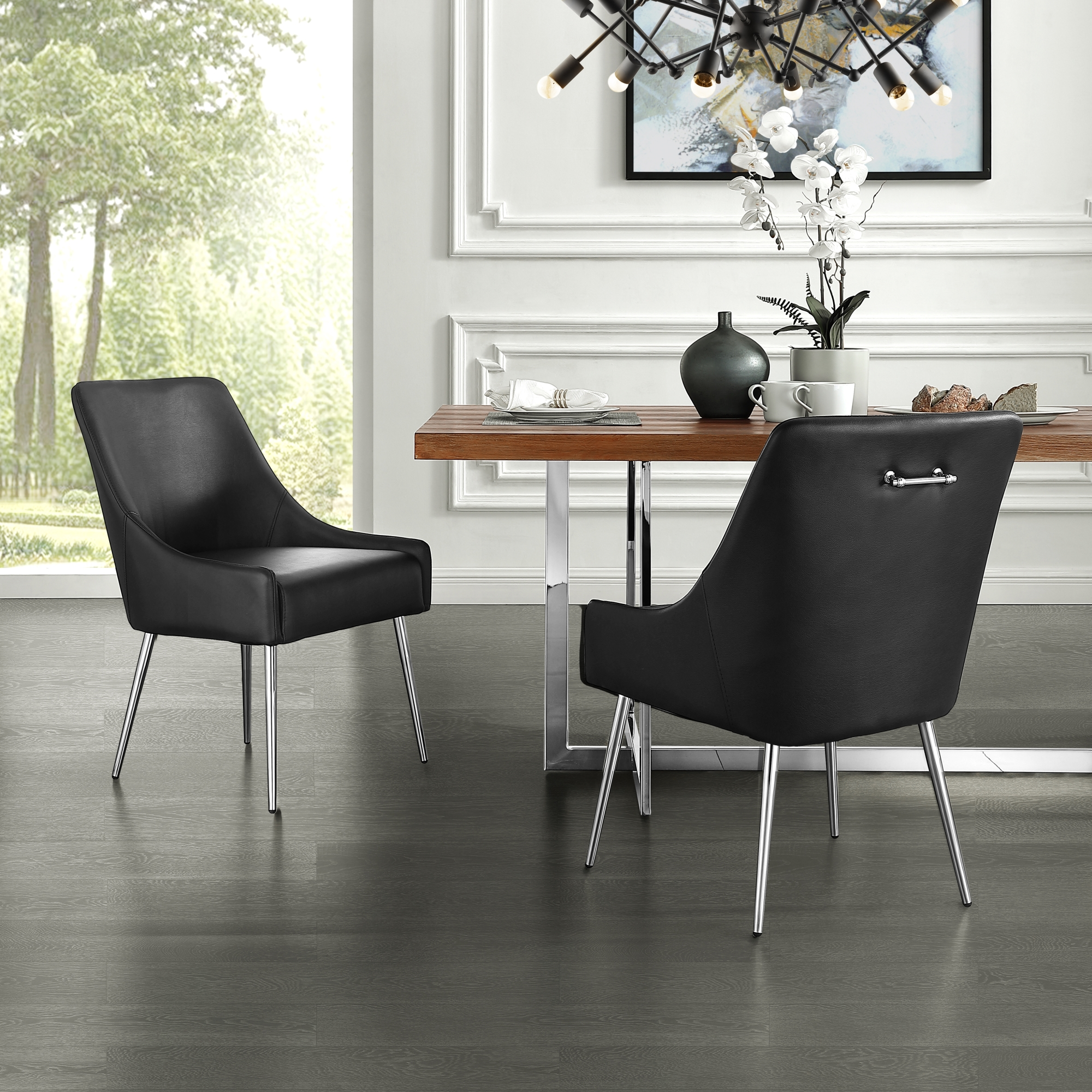 Inspired Home Black PU Leather Dining Chair Chrome Silver Finish Handle and Legs Armless