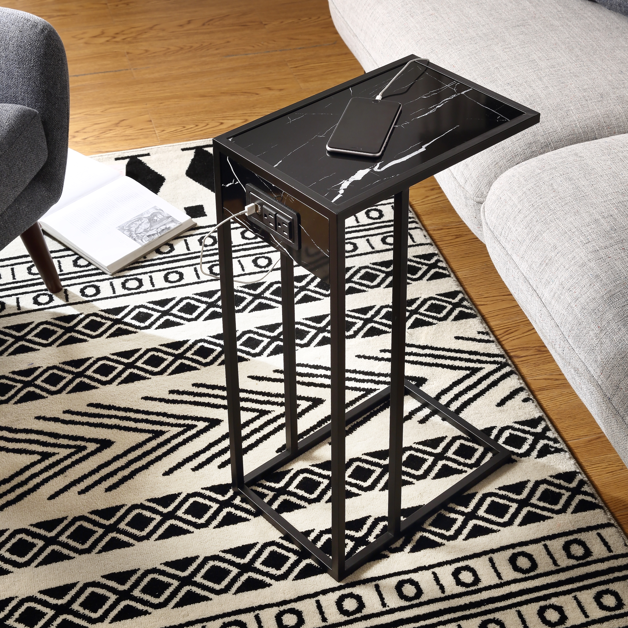 Loft Lyfe Black/Black End Table 2 USB Charging Ports, 2 Outlets, Power Plug MDF with Faux Marble Veneer Top, Metal Base