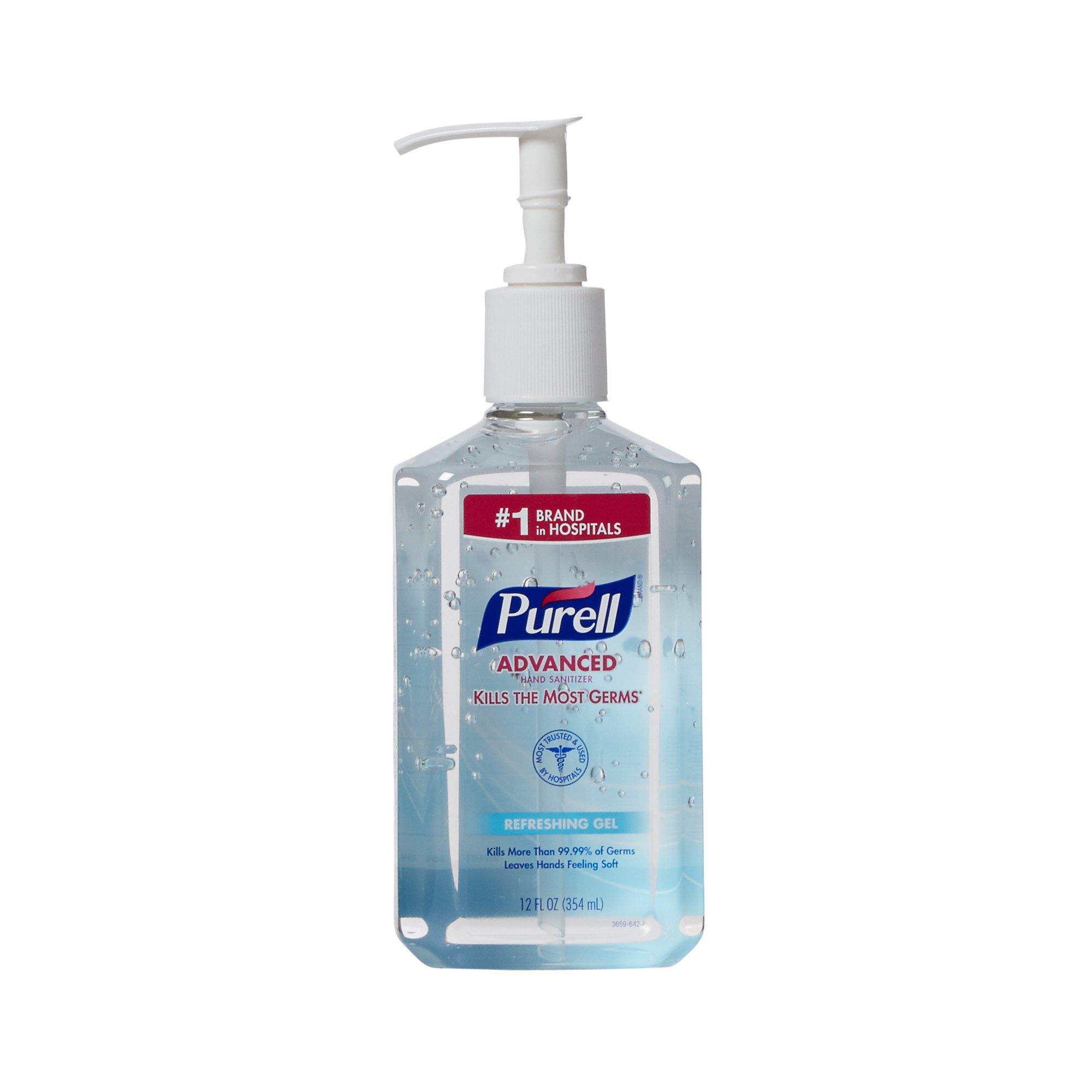 Purell Advanced Hand Sanitizer 12 oz. Ethyl Alcohol Gel Pump Bottle, 3659-12 - EACH
