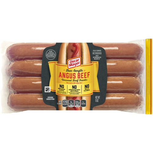 Oscar Mayer Bun-Length Angus Beef Uncured Franks Pack, 8 count