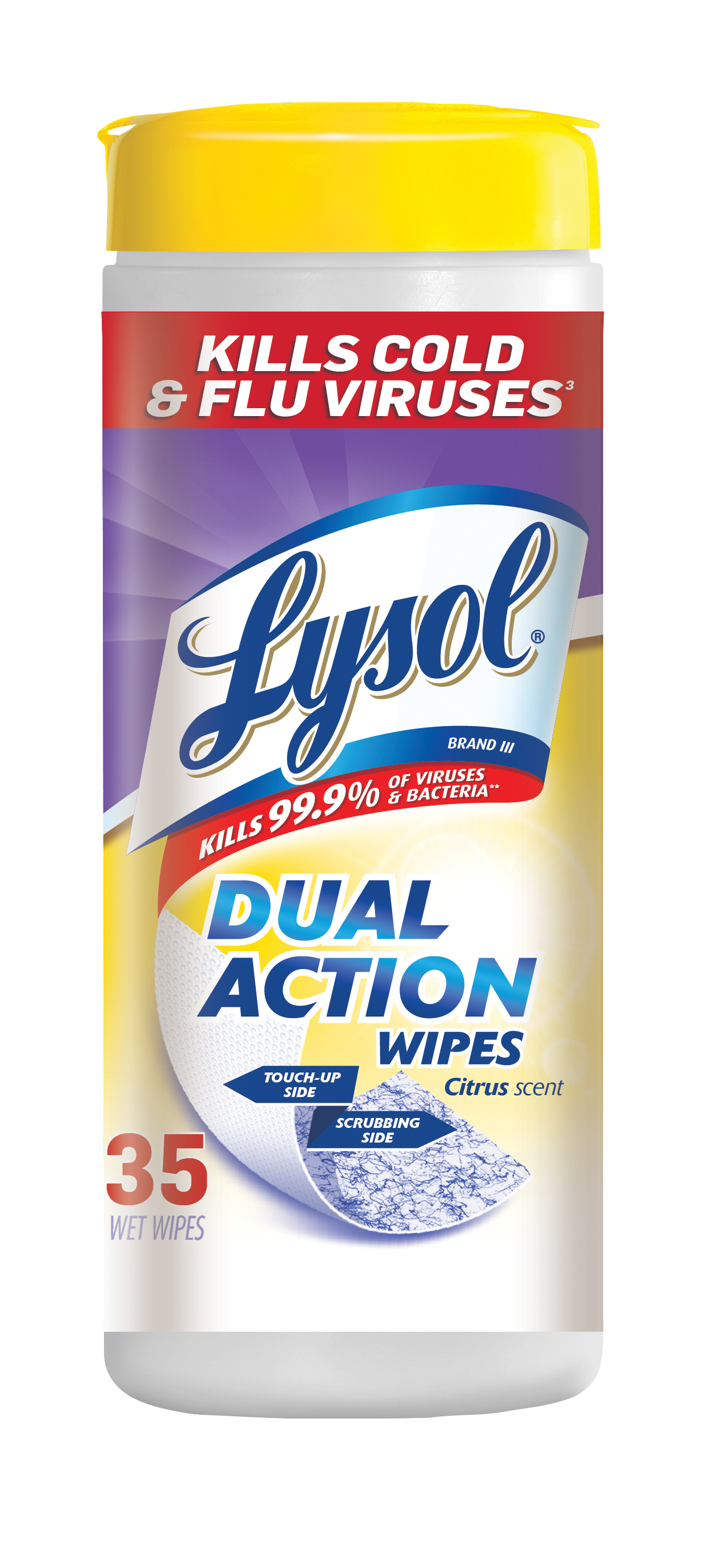 Lysol Dual Action Disinfecting Wipes, Citrus, 35ct